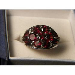GARNET CLUSTER  RING SIZE 7