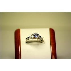 Lady's Fancy 14kt White Gold Tanzanite & White Sapphire Ring