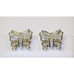 Lady's Butterflies Style Sterling Silver Diamond Earrings