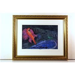Marc Chagall Original Lithograph - Bridge Over The Seine
