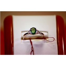 #135 - Fancy Ladys 14K Columbian Emerald Ring
