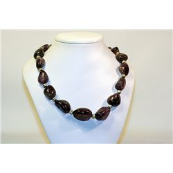 Unisex Beautiful  All Natural Stones  Extremely Rare Purple Amethyst & Silver Balls Necklace