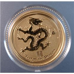 2012 AUSTRALIAN 1/10th OUNCE .999 GOLD, DRAGON, BEAUTIFUL PROOF COIN