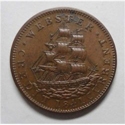 Hard Times Token 1841/1937 Webster Credit Currency Choice Brown  Unc  63