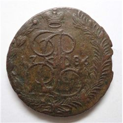 "Russia 1786 5 Kopeck ""Hockey Puck"" Copper XF"