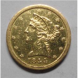 1844-O $5 Gold Scarce New Orleans Mint AU55 Details