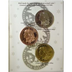 "Limited Edition School Girl Pattern 1879 $1 ""Copies"" in Proof - 3  Medals"
