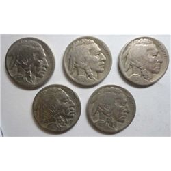 5 pcs D mint Buffalo Nickels