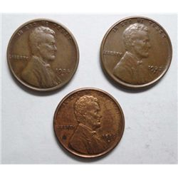 3 Highgrade S Mint Lincoln Cents