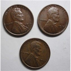 3 Highgrade D Mint Lincoln Cents