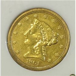 1861  $2 1/2 Gold  XF
