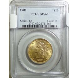 1901 $10 LIBERTY GOLD PCGS MS-62