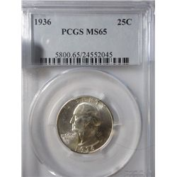 1936 WASHINGTON QUARTER PCGS MS-65