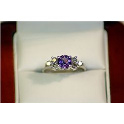 LADY'S 14K WHITE GOLD AMETHYST/DIAMOND RING