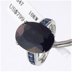 Genuine Sapphire Ring in 10K White Gold