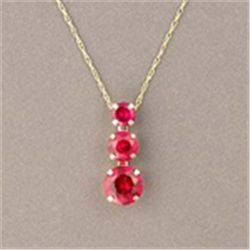 3-Stone Created Ruby 10K Gold Necklace