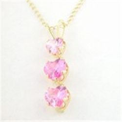 3-Stone Created Pink Sapphire Heart 10K Gold Necklace