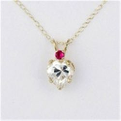 Created Ruby & CZ Heart 10K Gold Necklace