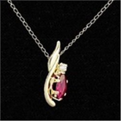 Lab-Created Ruby Pendant and Chain Necklace in 10K Gold