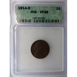 1914-D LINCOLN ONE CENT ICG VF25 NICE