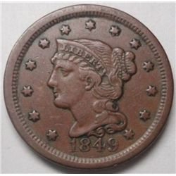 1849 Large penny VF30  near perfect color