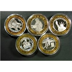 5 SILVER CASINO TOKENS, 5 DIFF. COLLECTABLE THEMES