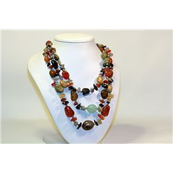 Lady's Very Unique Fancy  All Natural Stones  Multi Stone  Tri-Necklace