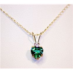 Lady's Fancy 14 kt Yellow Gold  Heart Shape Emerald Necklace