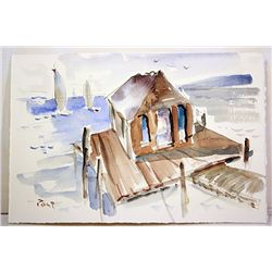 Post  Original Watercolor on Paper - Harbor View