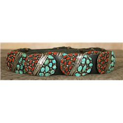 Francisco Gomez Concho Belt, turquoise and coral