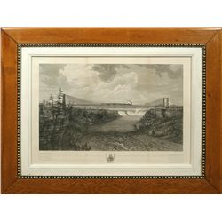 The Great International Railway Suspension Bridge Engraving