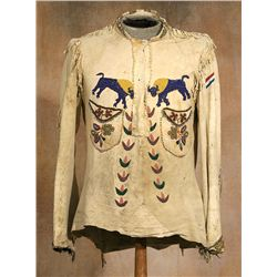 Sioux Pictorial Beaded Scout Shirt, 19th century