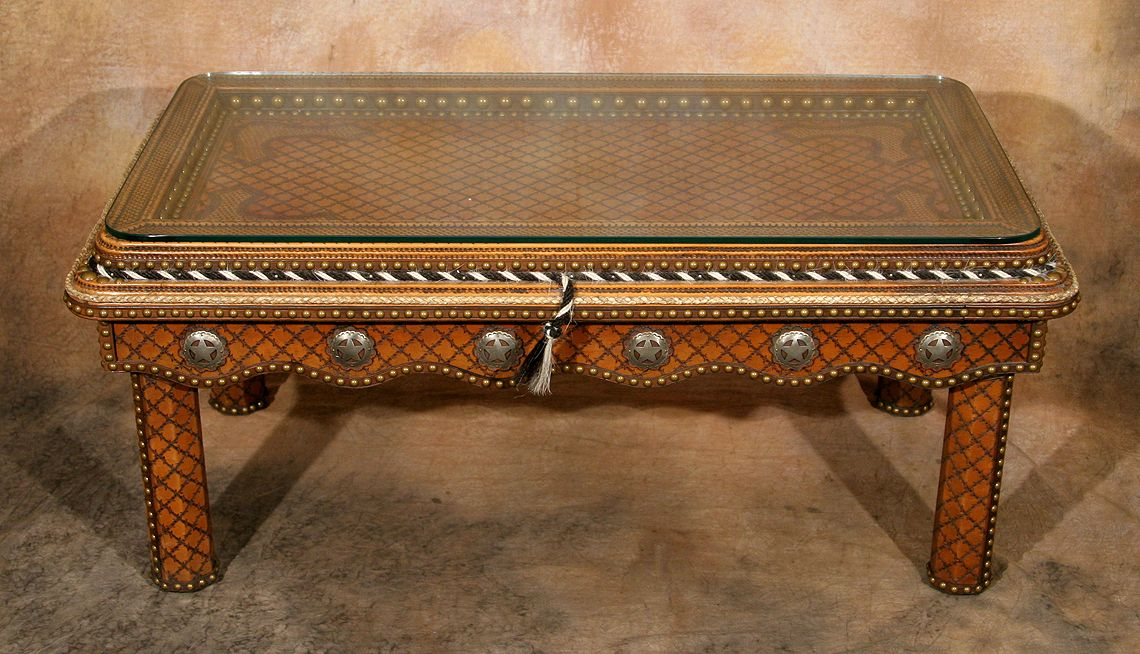 Image 1 : Tacked Leather Western Coffee Table ...