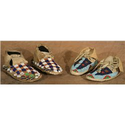 Two Pairs Of Sioux Child's Moccasins, both circa 1900