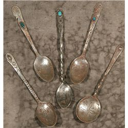 Five Navajo Silver Souvenir Spoons, Early 1900s