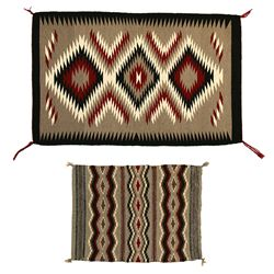 "Pair of Navajo Weavings, 3'11 x 2'6"" & 2'5"" x 1'9"""