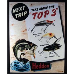 5400 - METAL ADVERTISING SIGN - HEDDON FISHING LURES - 12.5X16 