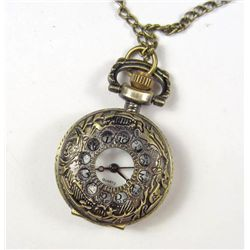 5765 - ANTIQUED BRONZE FINISH ORNATE POCKET WATCH PENDANT - 1  DIA. - 30  CHAIN