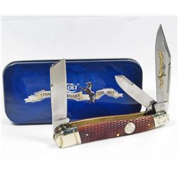 6101 - COLT 175TH ANNIVERSARY LARGE STOCKMAN WITH CHECKERED BONE HANDLE KNIFE