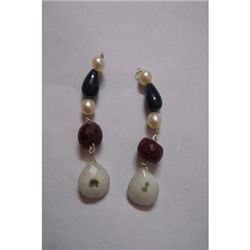 Natural 34.45ct Sapphire,Pearl,Ruby Earring .925 Sterli