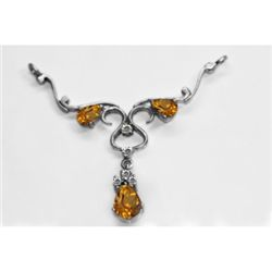 NATURAL 4.00g CITRINE OVAL PENDANT .925 STERLING SILVER
