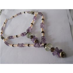 385.00 ctw Semi Precious Necklace .925 Sterling