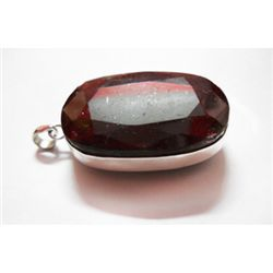 Natural 229.25 CTW. Ruby Oval Pendant .925 Sterling Sil