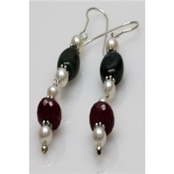 Natural 40.53ct Ruby,Pearl,Emerald Earrings .925 Sterli