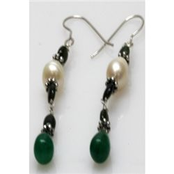 Natural 23.40ct Emerald,Pearl Earrings .925 Sterling