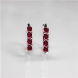 NATURAL 4.00 CTW GARNET EARRINGS .925 STERLING SILVER