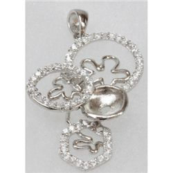 Natural 4.37g CZ Pendant .925 Sterling Silver