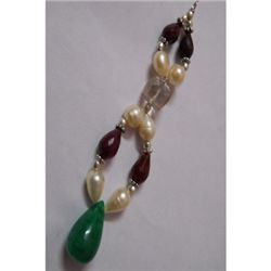 Natural 83.55ct Ruby,Pearl,Emerald,Semi Precious Pendan