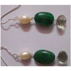 Natural 40.10 ctw Semi Precious Earring .925 Sterling