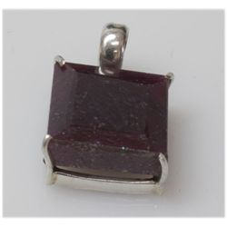 Natural 45.CTW. Ruby Square .925 Sterling Silver Pendan